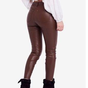 Free People Brown Vegan Faux Leather Pants